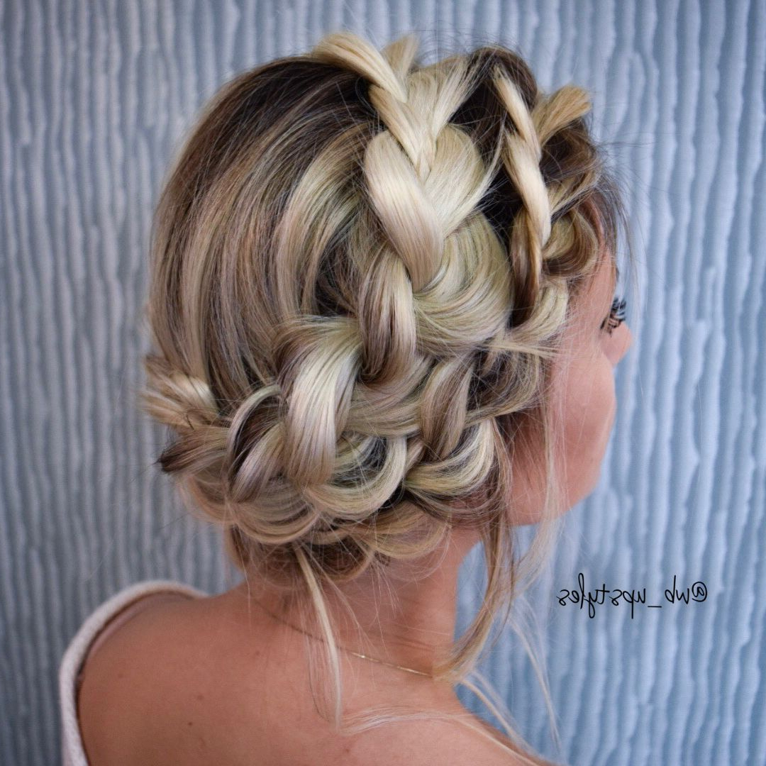 Fashionable Updo Halo Braid Hairstyles Intended For Crown Braid (View 8 of 20)