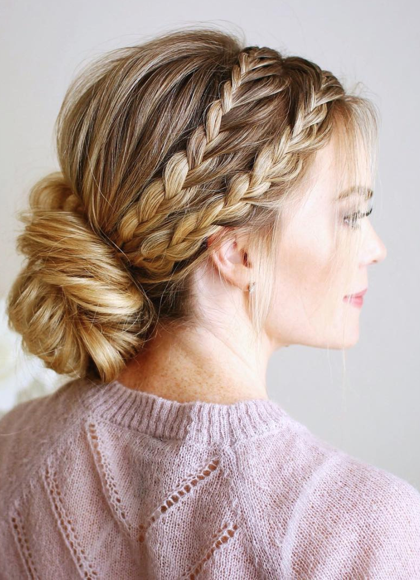 Fashionable Updo Halo Braid Hairstyles Throughout 8 Halo Braid Hairstyles That Look Fresh And Elegant (View 9 of 20)