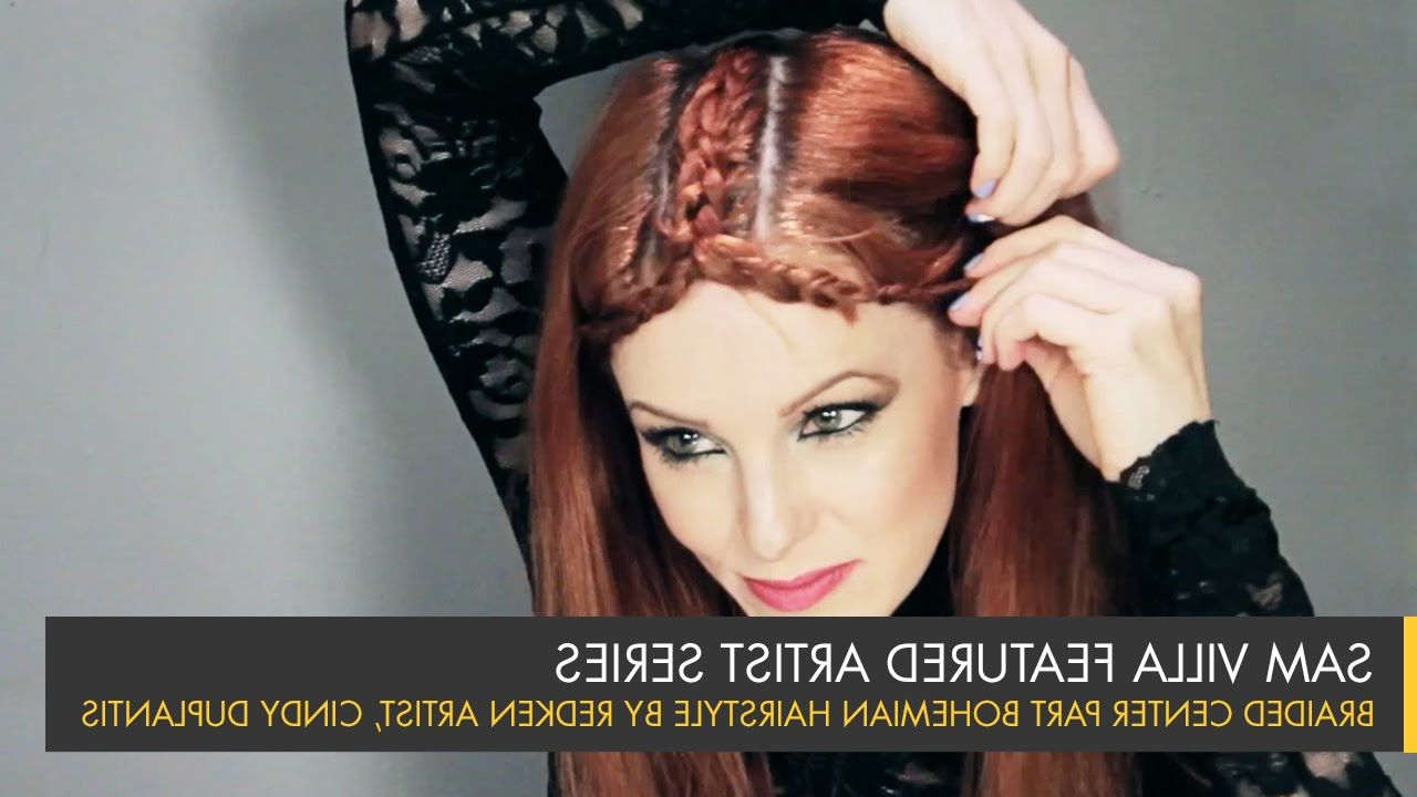 Favorite Center Part Braid Hairstyles Inside Braided Center Part Bohemian Hairstyle With Color Accents (View 13 of 20)