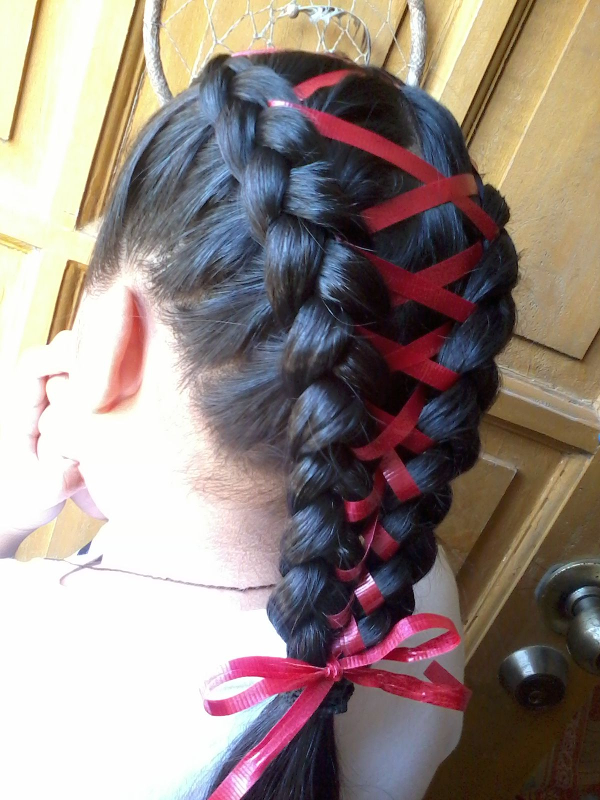 Favorite Corset Braid Hairstyles Throughout Braided Hair With Ribbon (View 11 of 20)