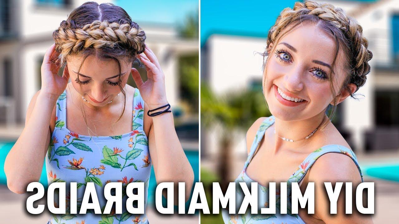 Favorite Milkmaid Crown Braids Hairstyles Throughout How To Create Diy Milkmaid Braids (View 13 of 20)
