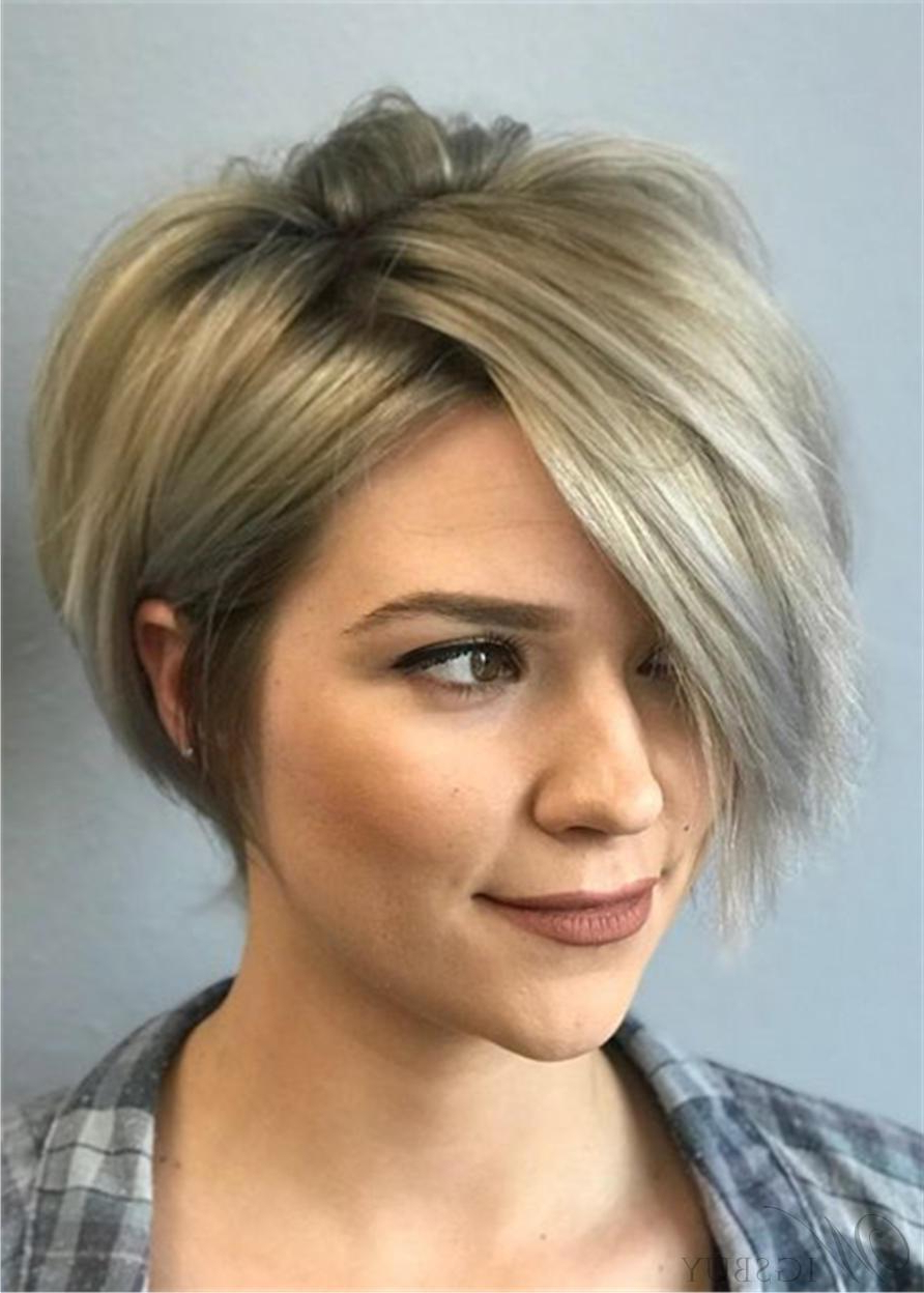 Favorite Part Pixie Part Bob Hairstyles Pertaining To Pixie Short One Side Part Bangs Straight Synthetic Hair (View 17 of 20)