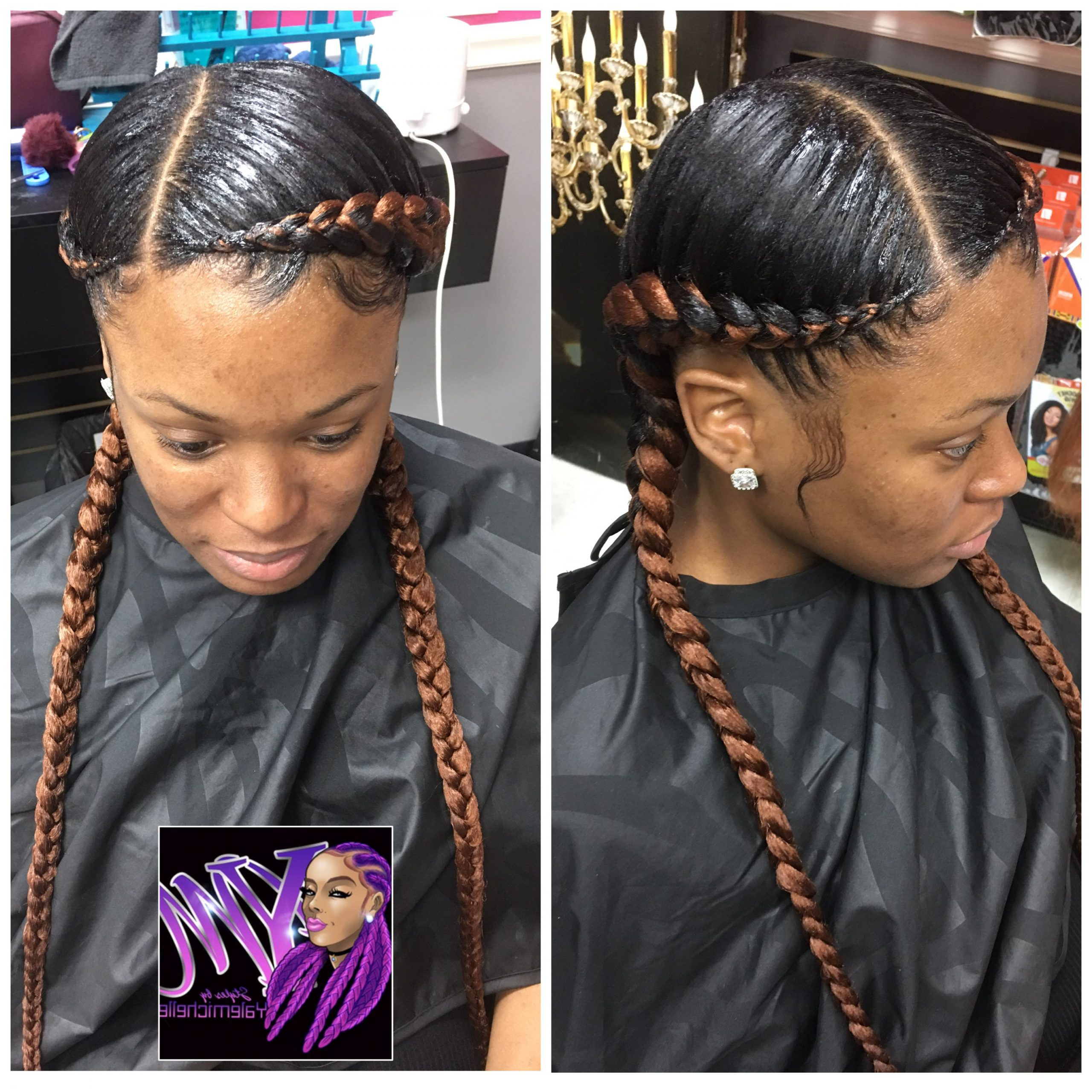 Feed In Braids Hairstyles, Two Cornrow (View 2 of 20)
