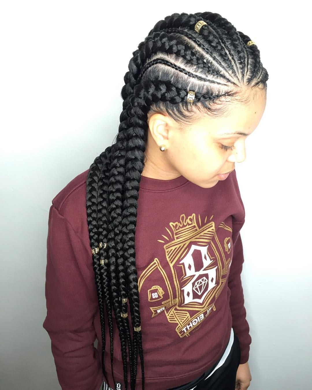 Feed In Cornrows + Minis + Hair Jewelry Want This Look? ❌Do Intended For Fashionable Loose Spiral Braid Hairstyles (View 5 of 20)