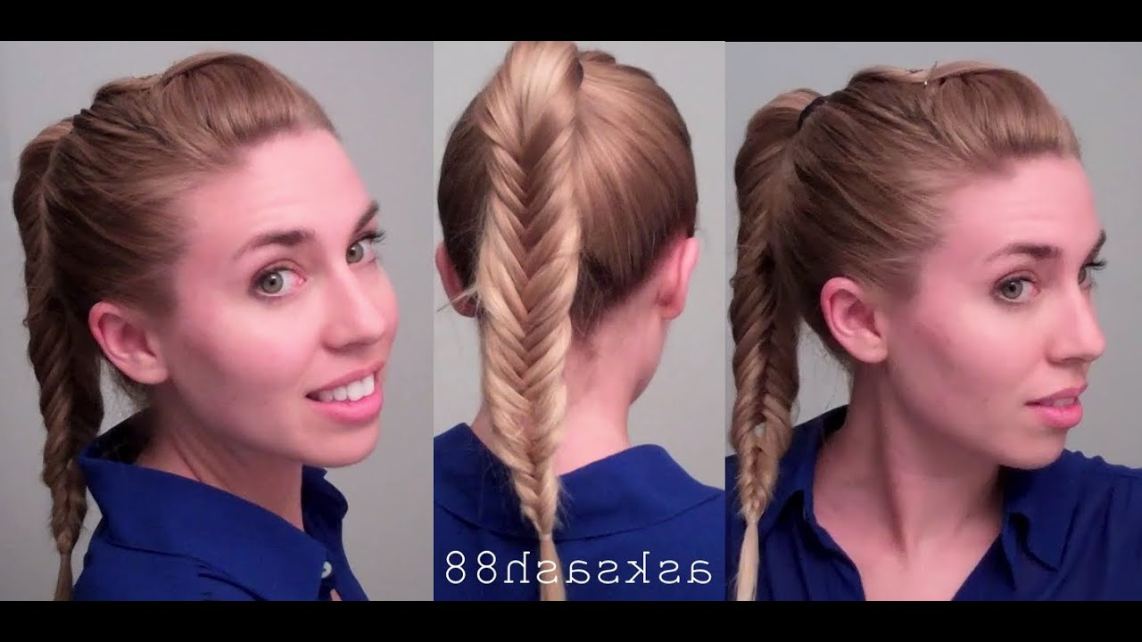 Fishtail Braid Ponytail — Easy Quick Everyday Hairstyles For Long Hair And Medium Hair Throughout Well Known Ponytail Fishtail Braid Hairstyles (View 4 of 20)