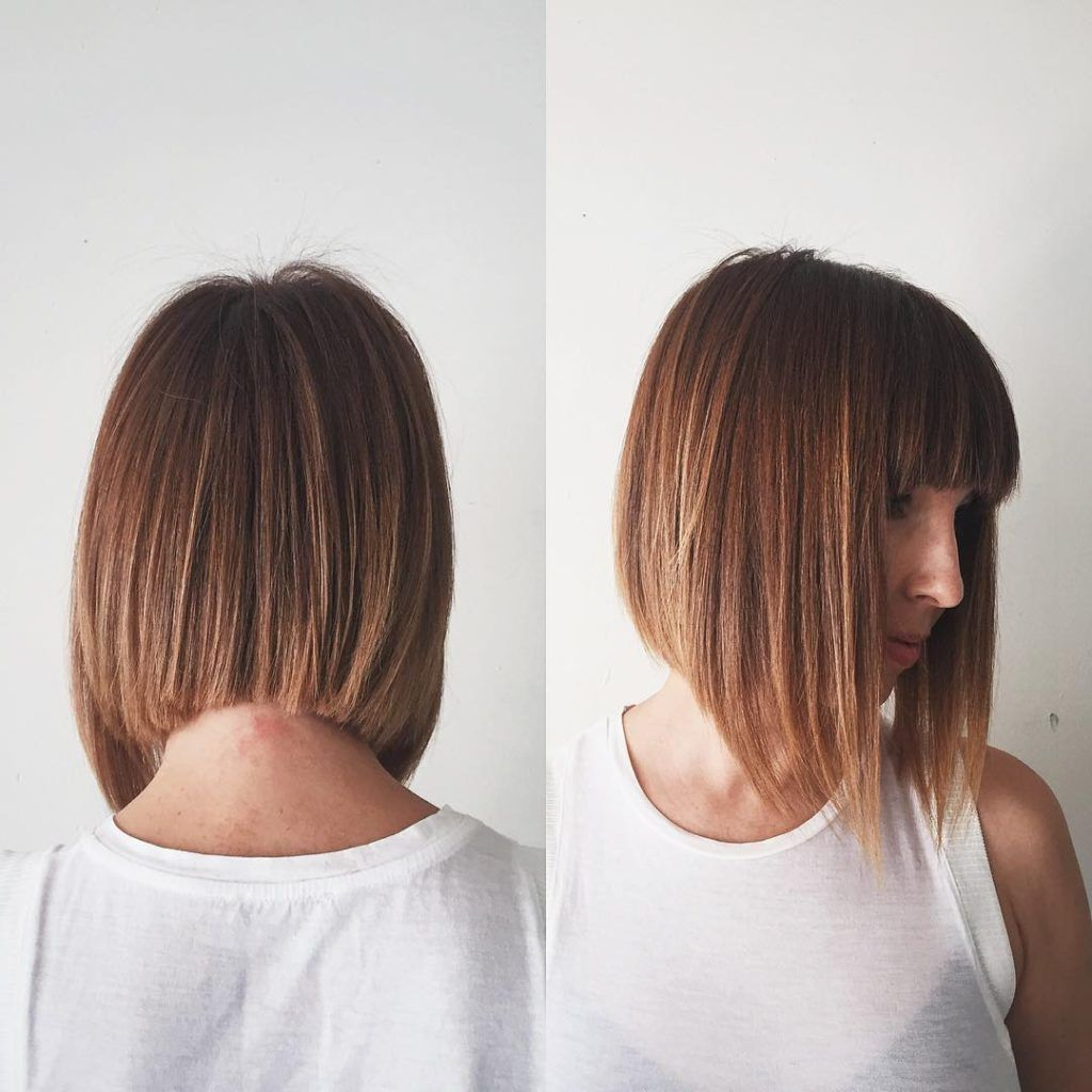 Ginger A Line Bob With Full Blunt Bangs And Highlights Within Latest Sassy A Line Bob Hairstyles (View 7 of 20)