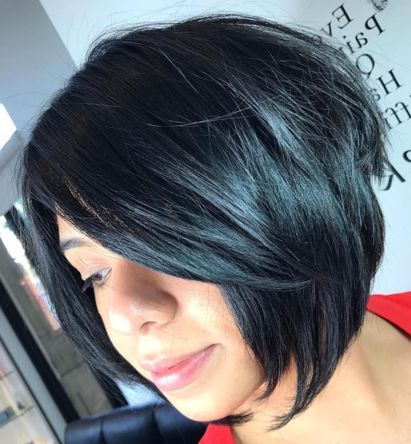 Hair Throughout Famous Jet Black Chin Length Sleek Bob Hairstyles (View 8 of 20)