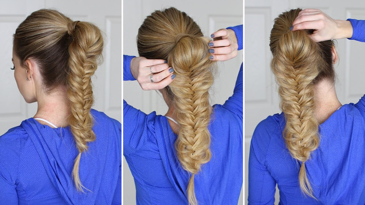 Hair Tutorial For Beginners Pertaining To Widely Used Ponytail Fishtail Braid Hairstyles (View 12 of 20)