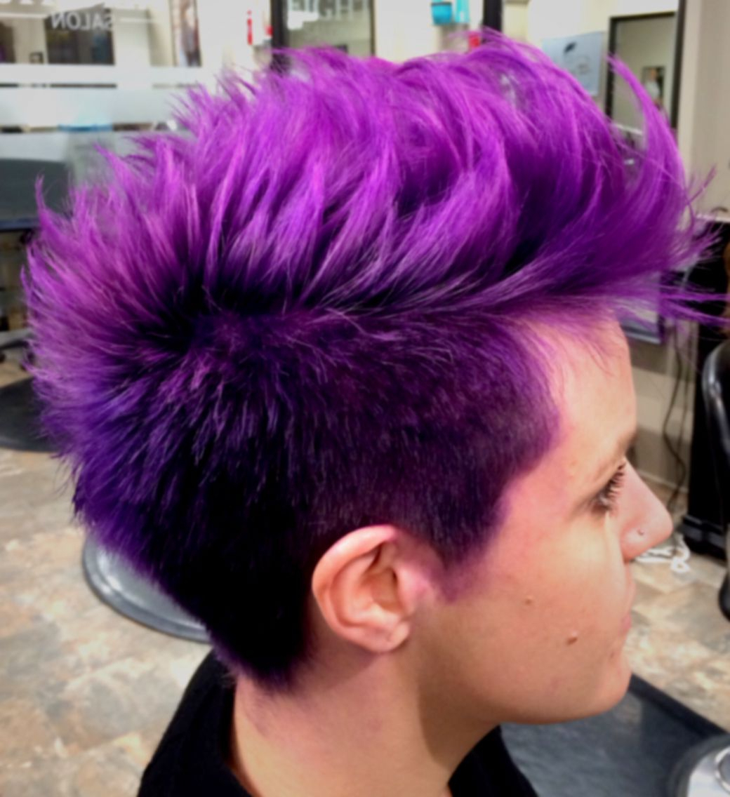 Featured Photo of Faux Hawk Fade Haircuts With Purple Highlights