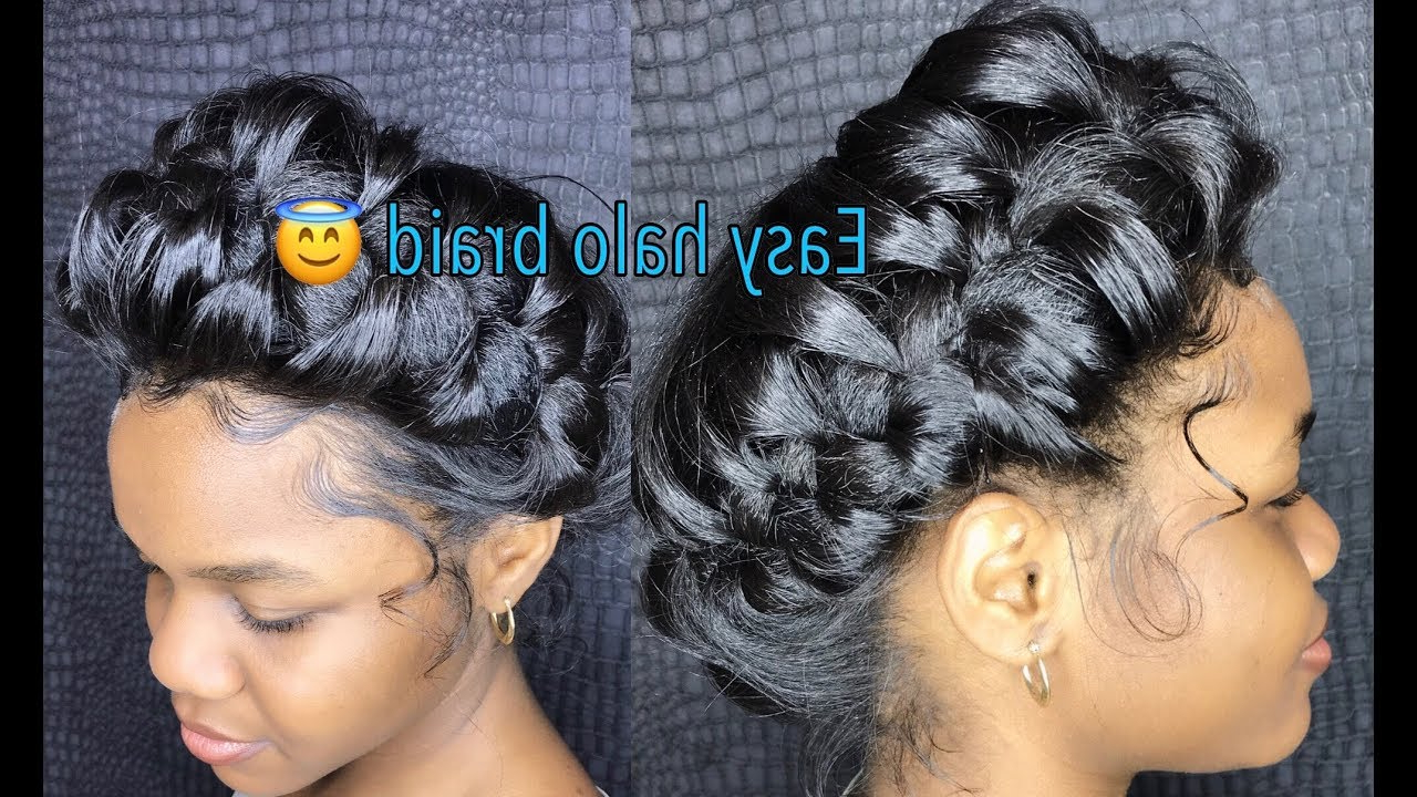 How To Do A Messy Halo/crown Braid Regarding Widely Used Halo Braid Hairstyles With Bangs (View 10 of 20)