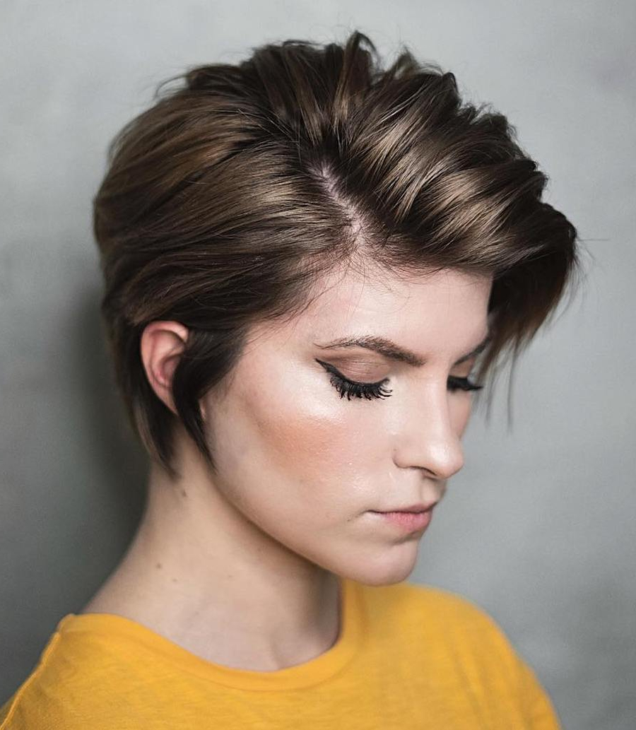 How To Pull Off Long Pixie Cut In 2020 And To Look Picture Regarding Fashionable Silver Pixie Haircuts With Side Swept Bangs (View 11 of 20)