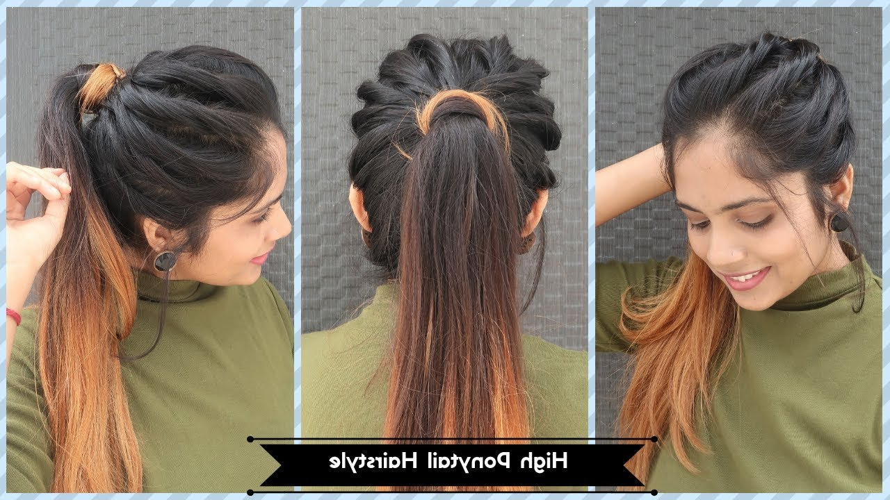 Latest High Ponytail Braid Hairstyles Regarding High Twisted Ponytail Hairstyle / Messy Ponytail Hairstyle For Long To Medium Hair (View 9 of 20)