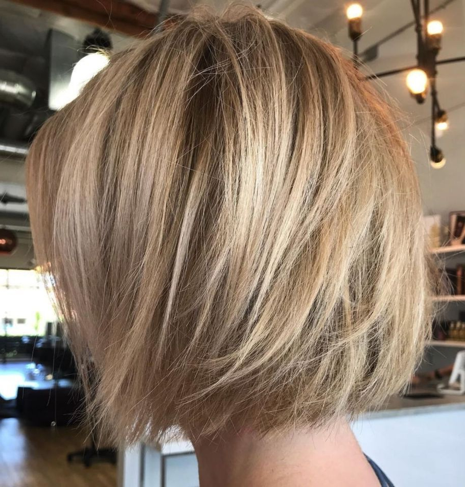 Latest One Length Short Blonde Bob Hairstyles Intended For 60 Layered Bob Styles: Modern Haircuts With Layers For Any (View 12 of 20)