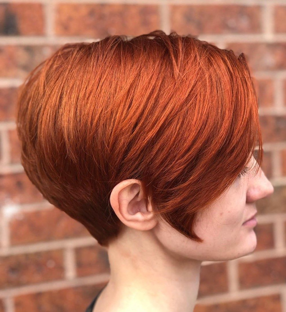 Latest Wavy Asymmetrical Pixie Haircuts With Pastel Red With Regard To Pin On Peinados (View 14 of 20)