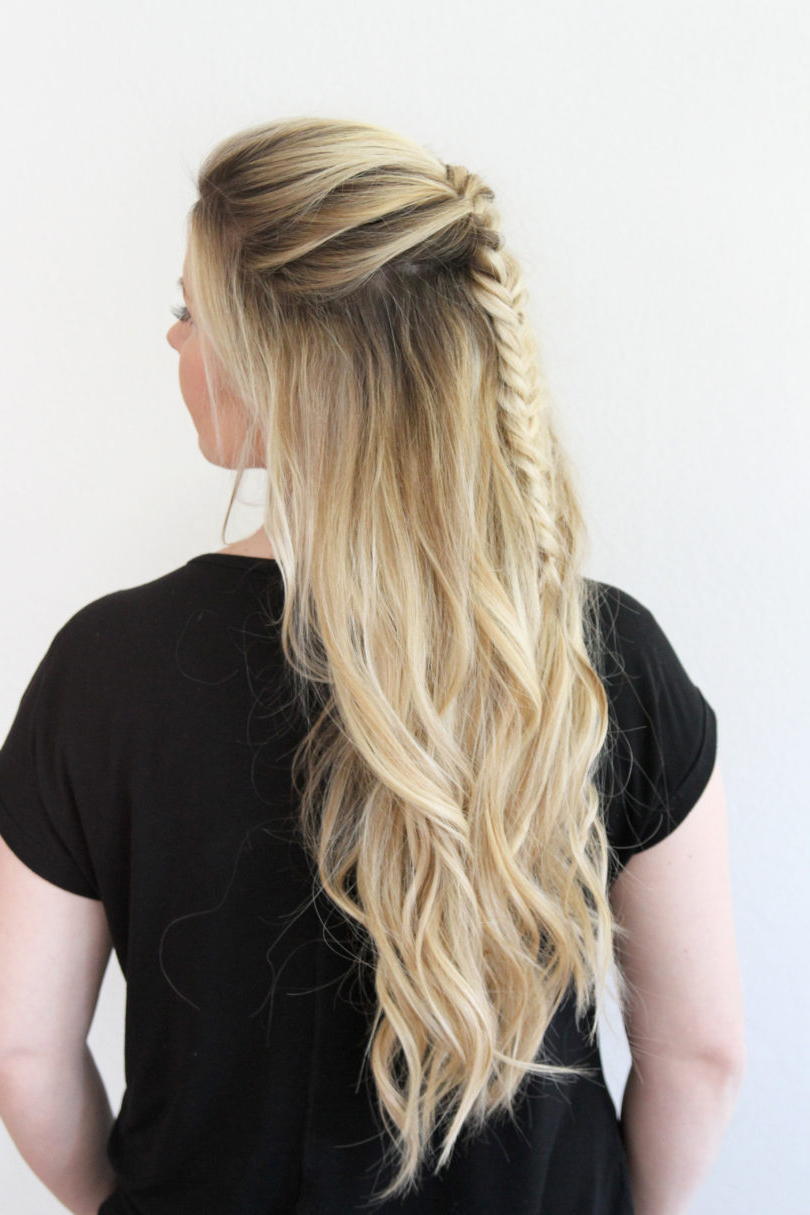Messy Fishtail Braid Tutorial In Widely Used Messy Side Fishtail Braid Hairstyles (View 12 of 20)