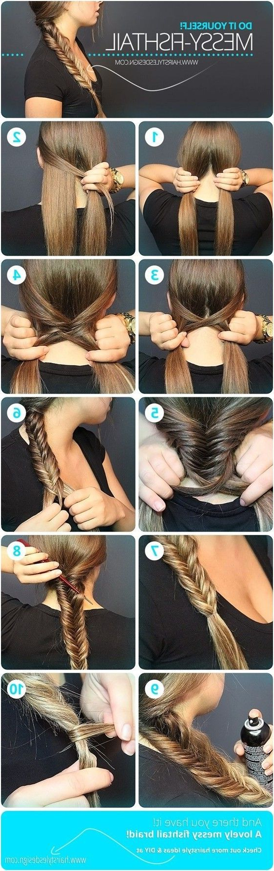 Messy Fishtail Braid Tutorial: Side Loose Braided Hairstyles Inside Most Current Messy Side Fishtail Braid Hairstyles (View 4 of 20)