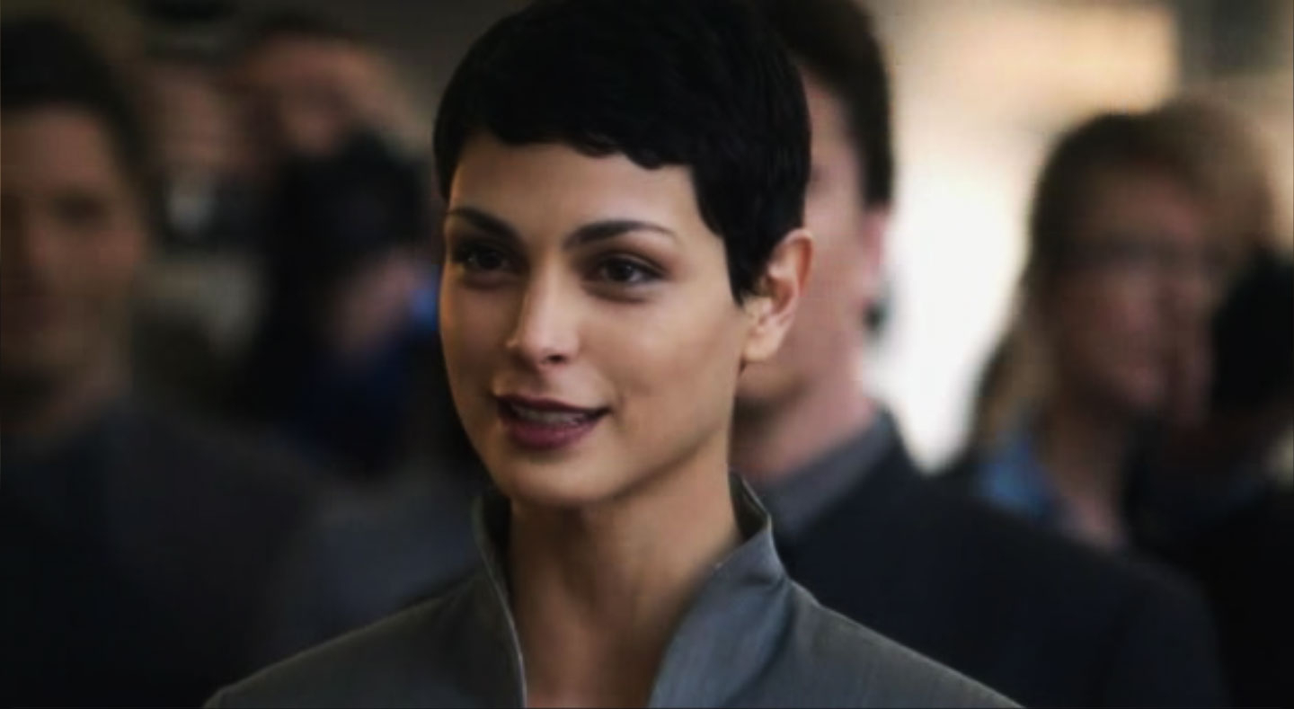 Morena Baccarin Hairstyles – V Tv Show – Strayhair Within Well Known Morena Pixie Haircuts With Bangs (View 7 of 20)