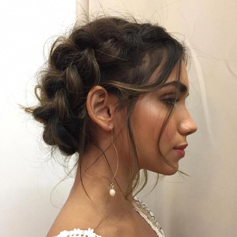 Most Current Messy Crown Braid Hairstyles For Messy Dutch Braid Updo #braidshairstyles (View 14 of 20)