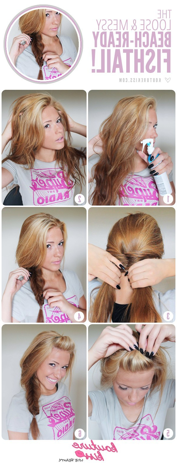 Most Current Messy Side Fishtail Braid Hairstyles Within Side And Messy Fishtail Braid Tutorial: Beach Hairstyles (View 18 of 20)