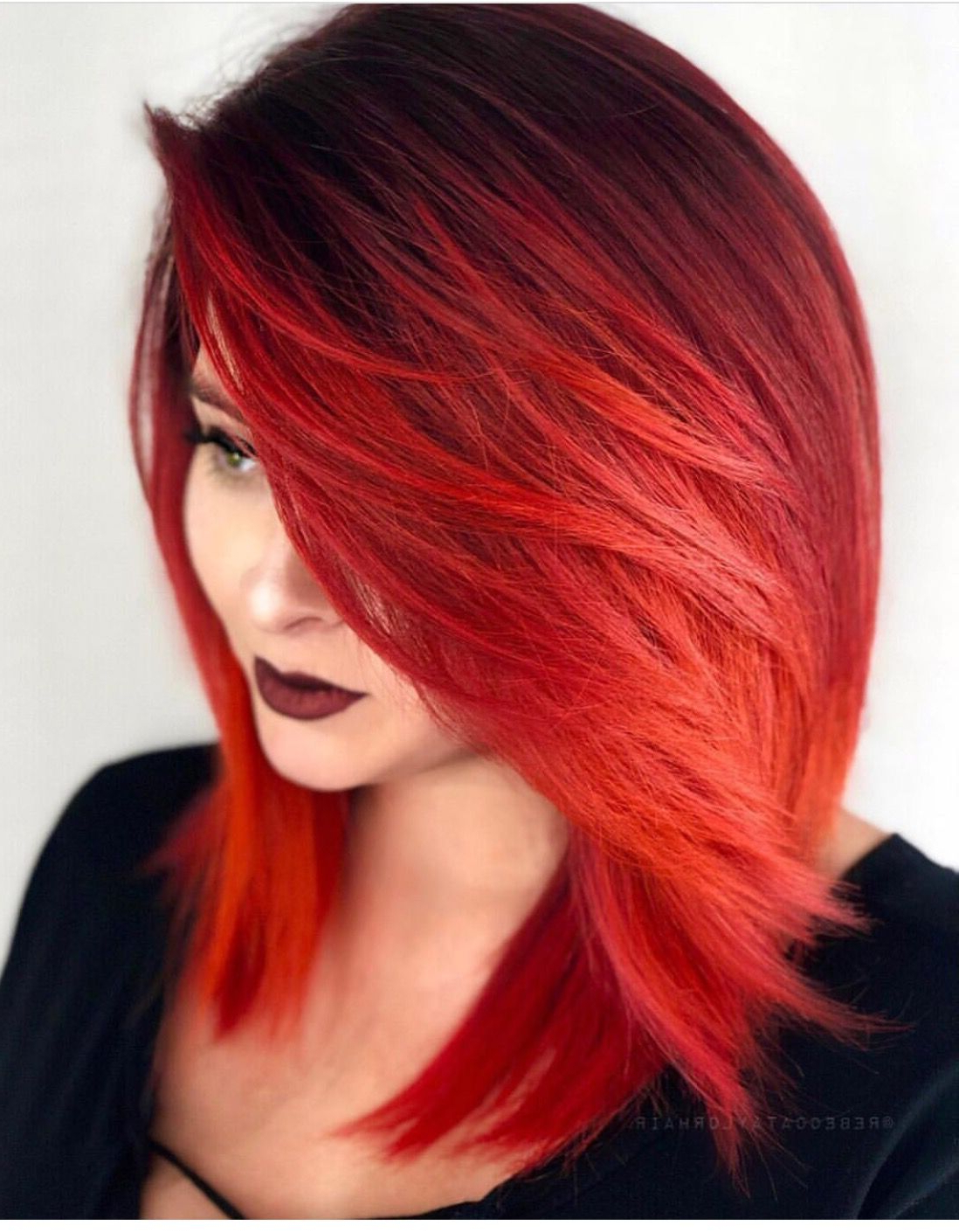 Most Popular Bright Red Bob Hairstyles With Regard To Pinmissy Williams On Beauty In All Colors (View 13 of 20)