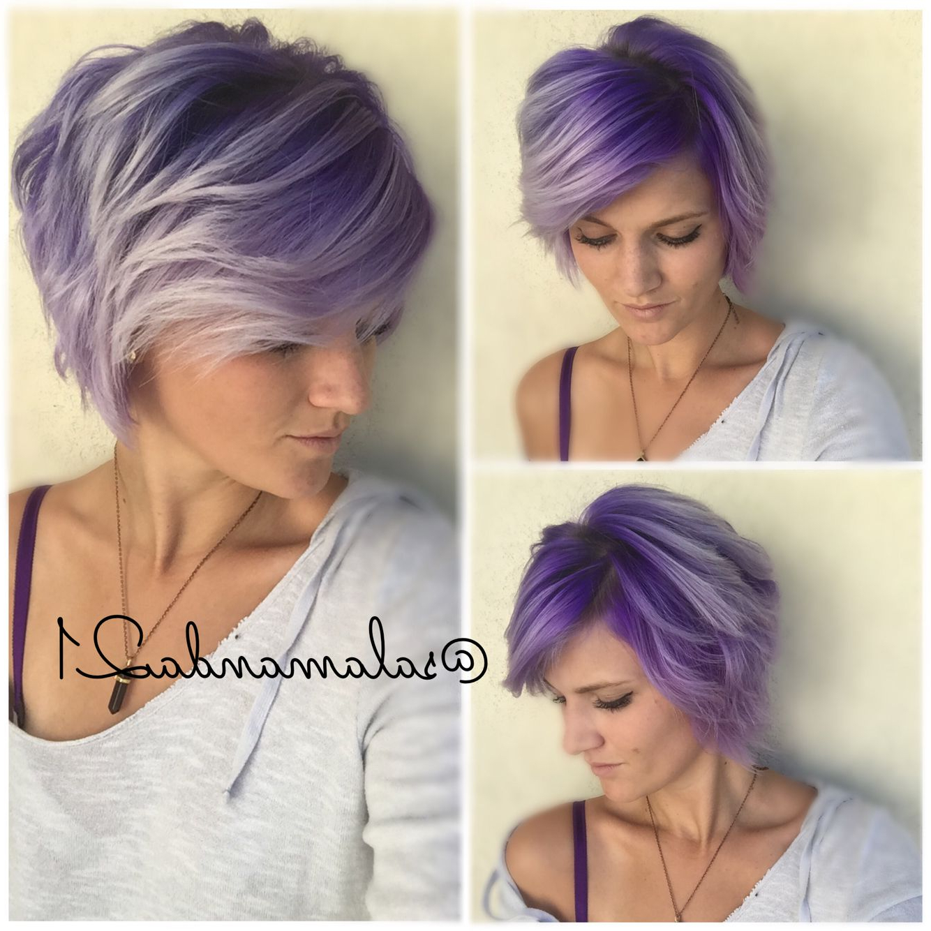 Most Popular Faux Hawk Fade Haircuts With Purple Highlights With Purple Ombré On Short Hair (View 10 of 20)