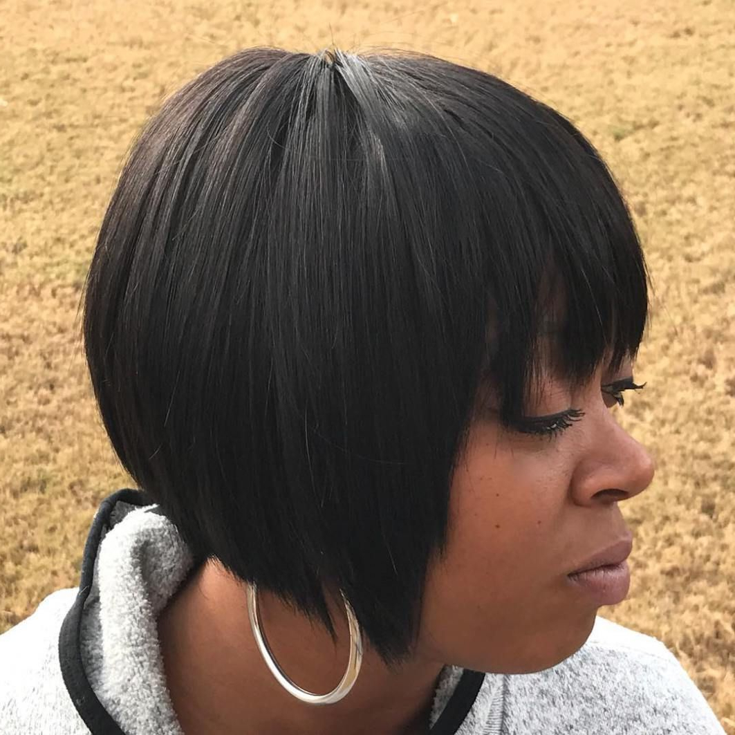 Most Popular Short Black Bob Hairstyles With Bangs For 35 Short Weave Hairstyles You Can Easily Copy In (View 9 of 20)