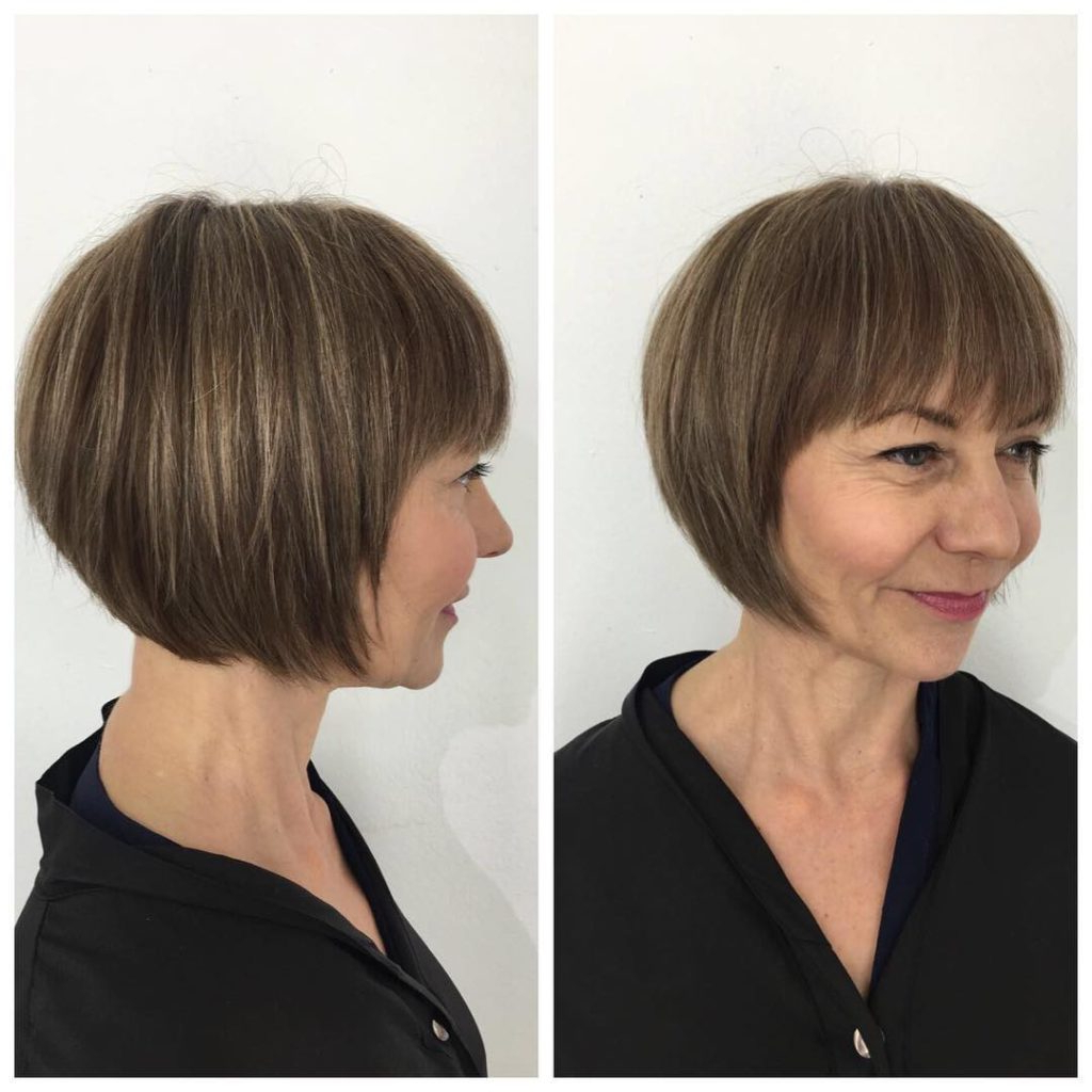 Most Popular Vintage Bob Hairstyles With Bangs For Women's Short Rounded Classic Bob With Fringe And Highlights (View 9 of 20)