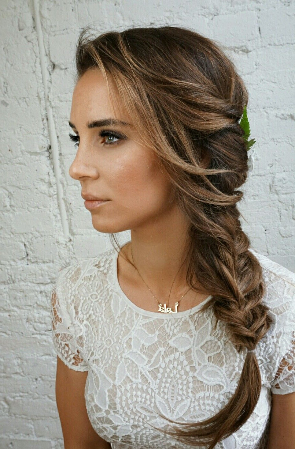 Most Recently Released Fishtail Side Braid Hairstyles Inside Bridal Side Braid@sarahwhair (instagram) (View 8 of 20)