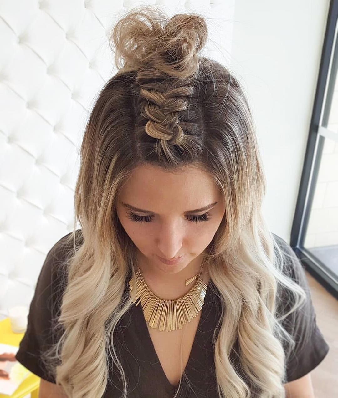 Most Recently Released Modern Braided Top Knot Hairstyles Within Braided Top Knot! (View 2 of 20)