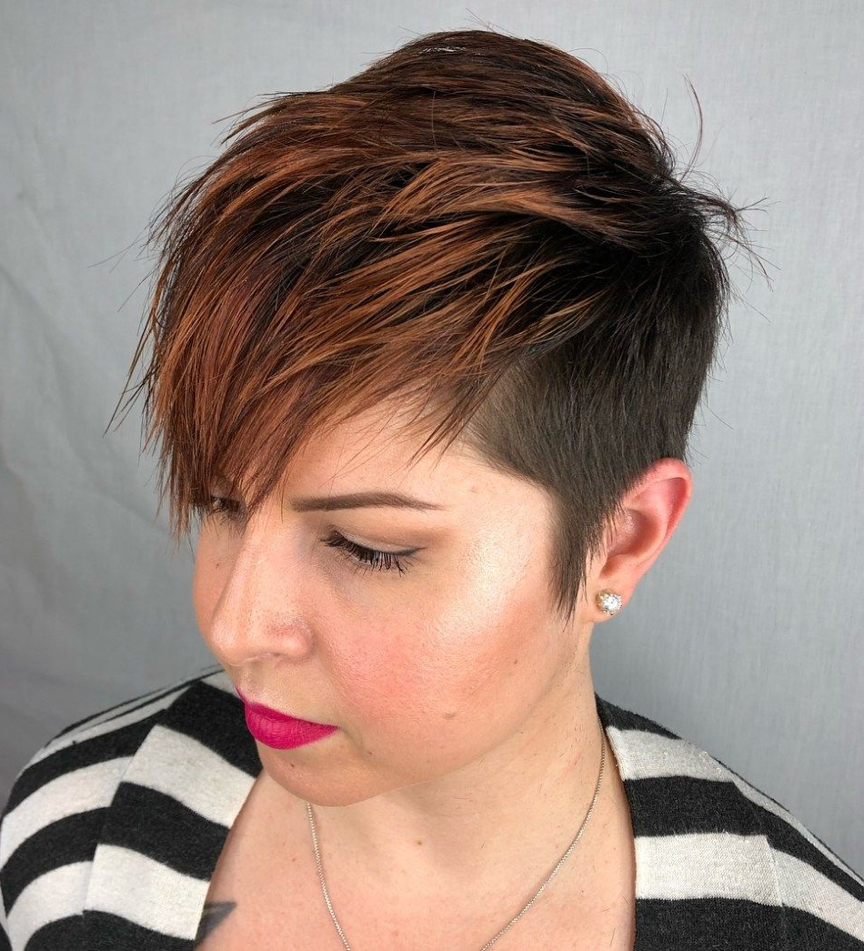 Most Recently Released Short Side Swept Pixie Haircuts With Caramel Highlights In Pin On Hair (View 4 of 20)