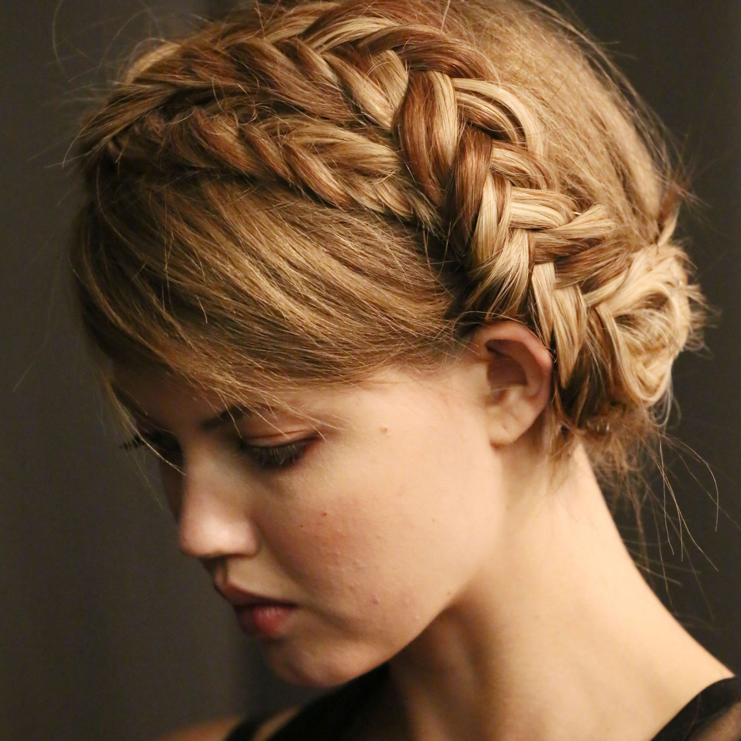 Most Up To Date Halo Braid Hairstyles With Bangs With Crown Braid With Bangs (View 2 of 20)