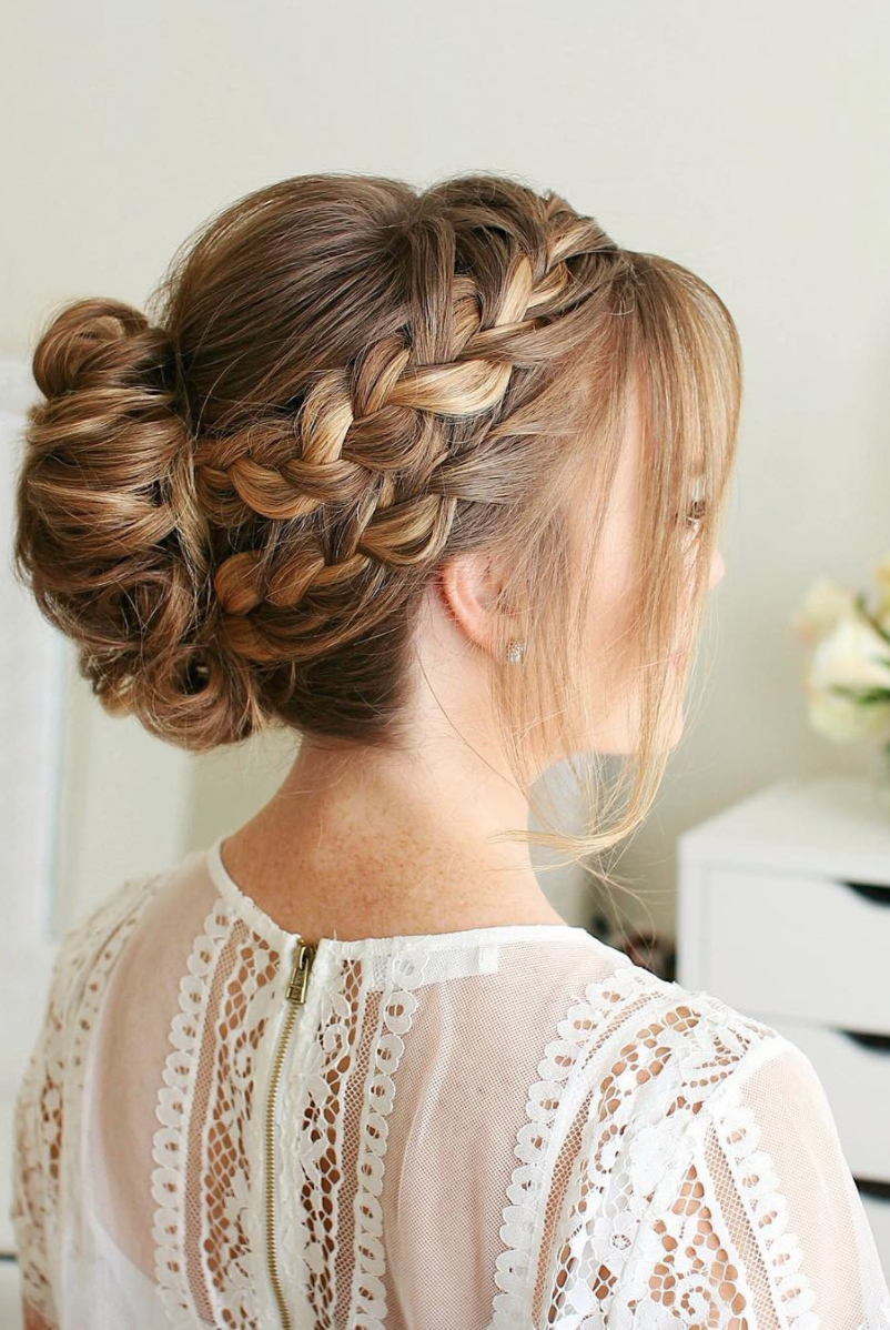 Most Up To Date Updo Halo Braid Hairstyles In 8 Halo Braid Hairstyles That Look Fresh And Elegant (View 17 of 20)