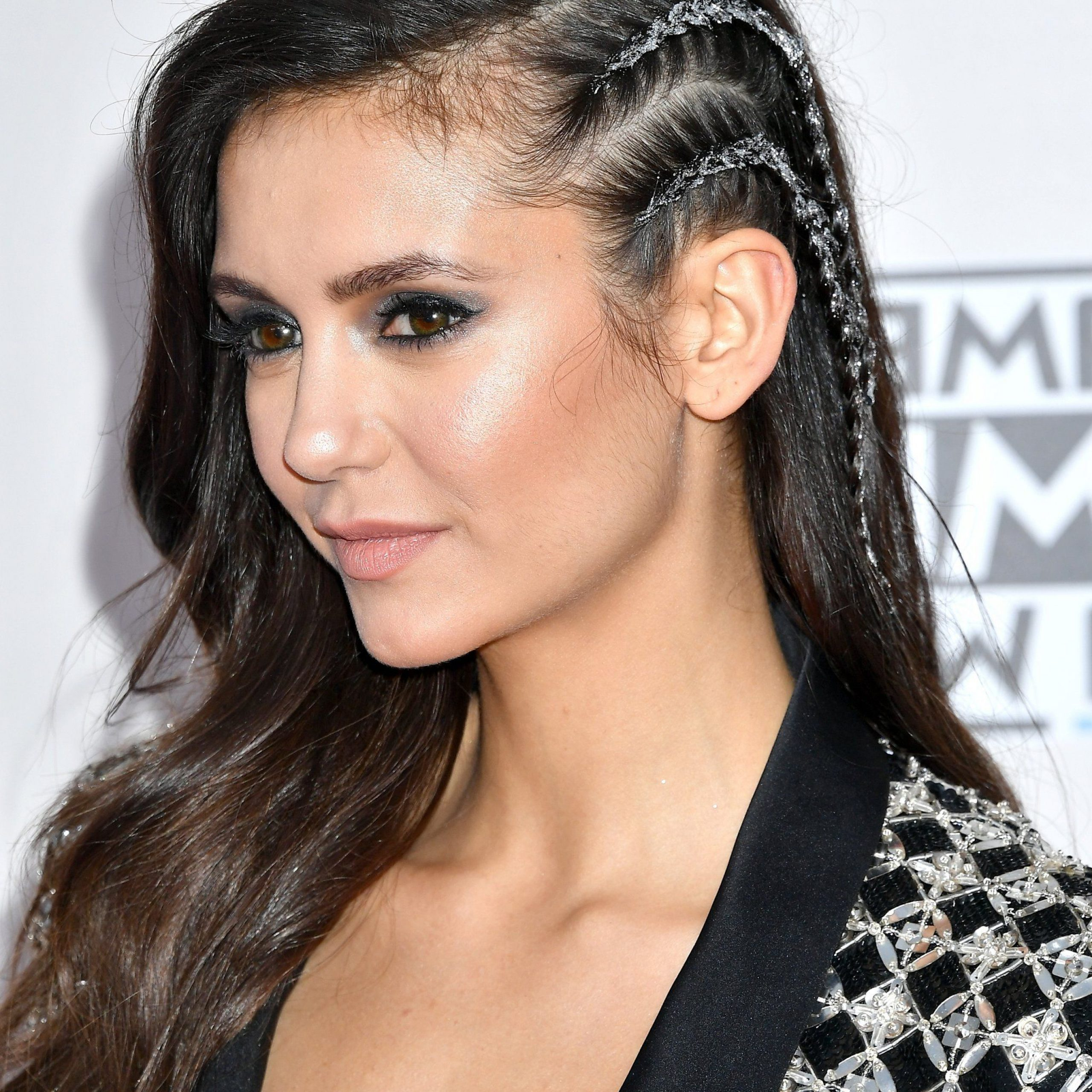 Nina Dobrev Just Made Glitter Undercut Braids Happen At The Intended For Well Liked Faux Undercut Braid Hairstyles (View 13 of 20)