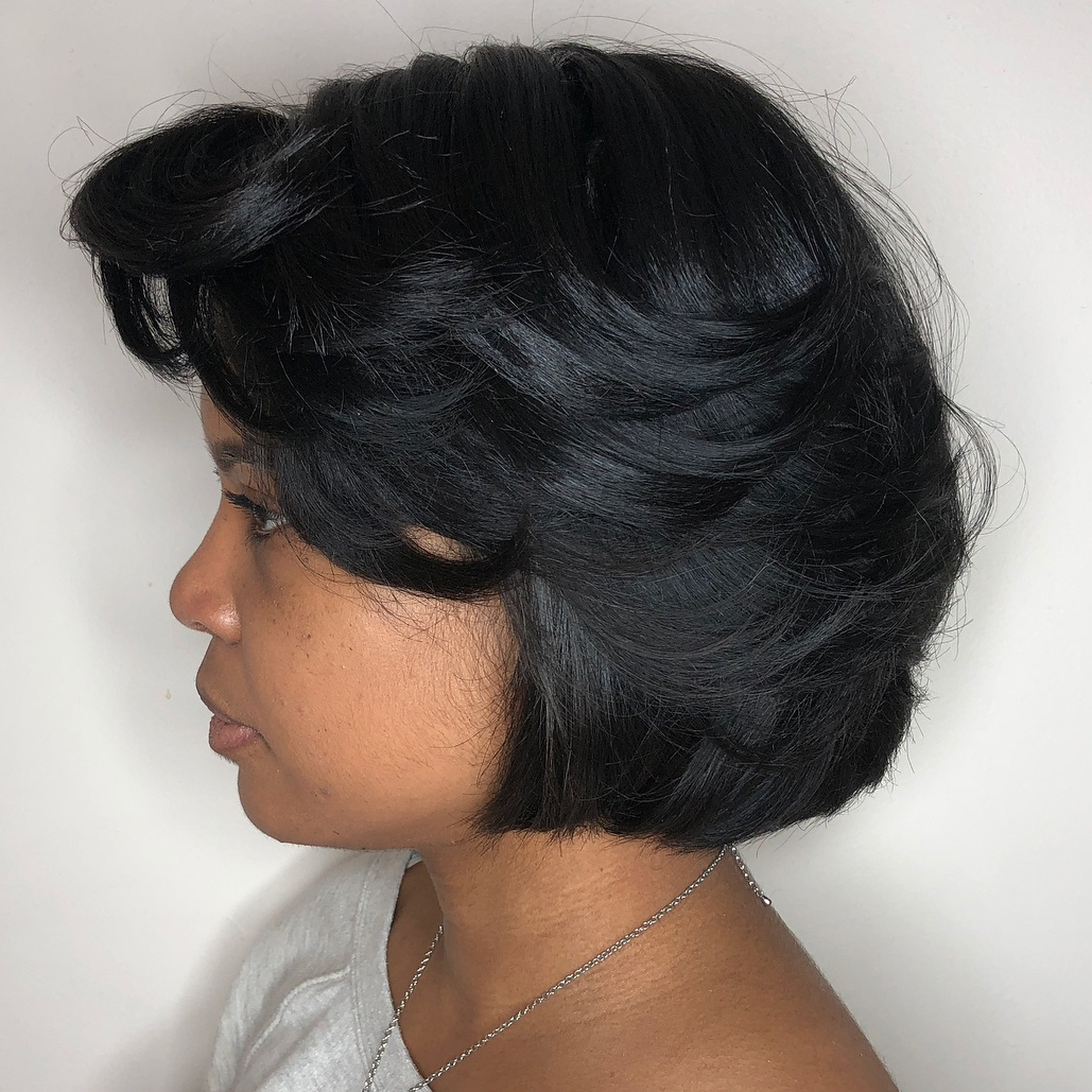 On Trend Short Hairstyles For Black Women To Flaunt In 2020 Regarding Preferred Jet Black Chin Length Sleek Bob Hairstyles (View 14 of 20)