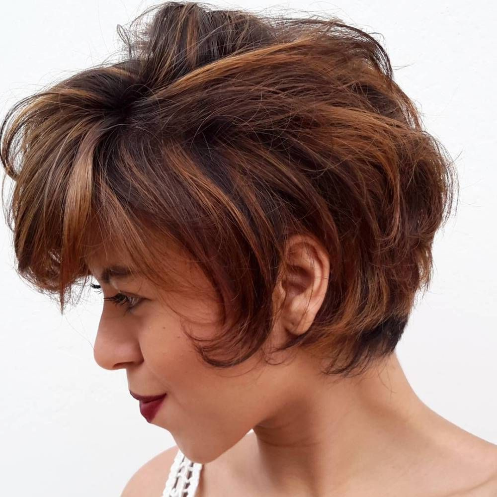 Pin On Hair Colors & Cuts Intended For Most Recent Short Side Swept Pixie Haircuts With Caramel Highlights (View 10 of 20)