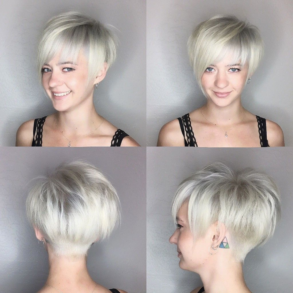 Featured Photo of Flipped Up Platinum Blonde Pixie Haircuts