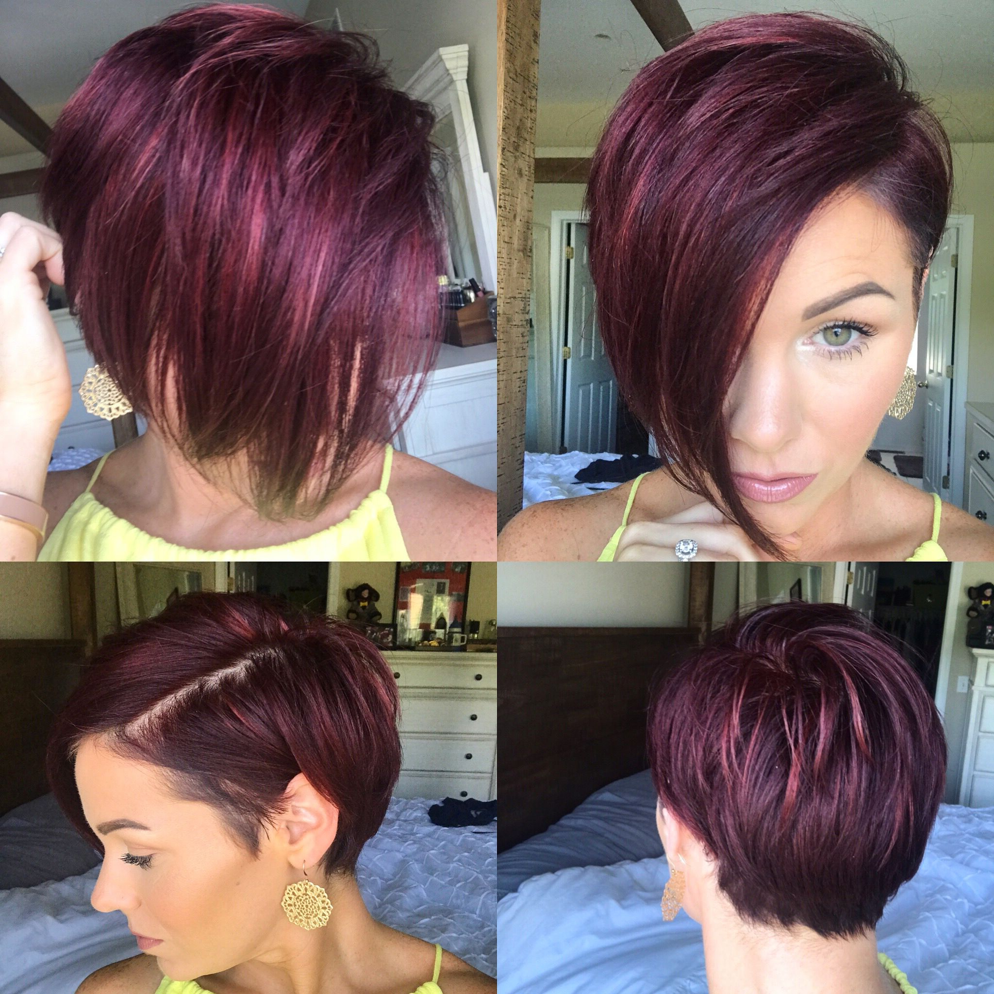 Pin On Hairstyles/inspiration For 2017 Wavy Asymmetrical Pixie Haircuts With Pastel Red (View 6 of 20)
