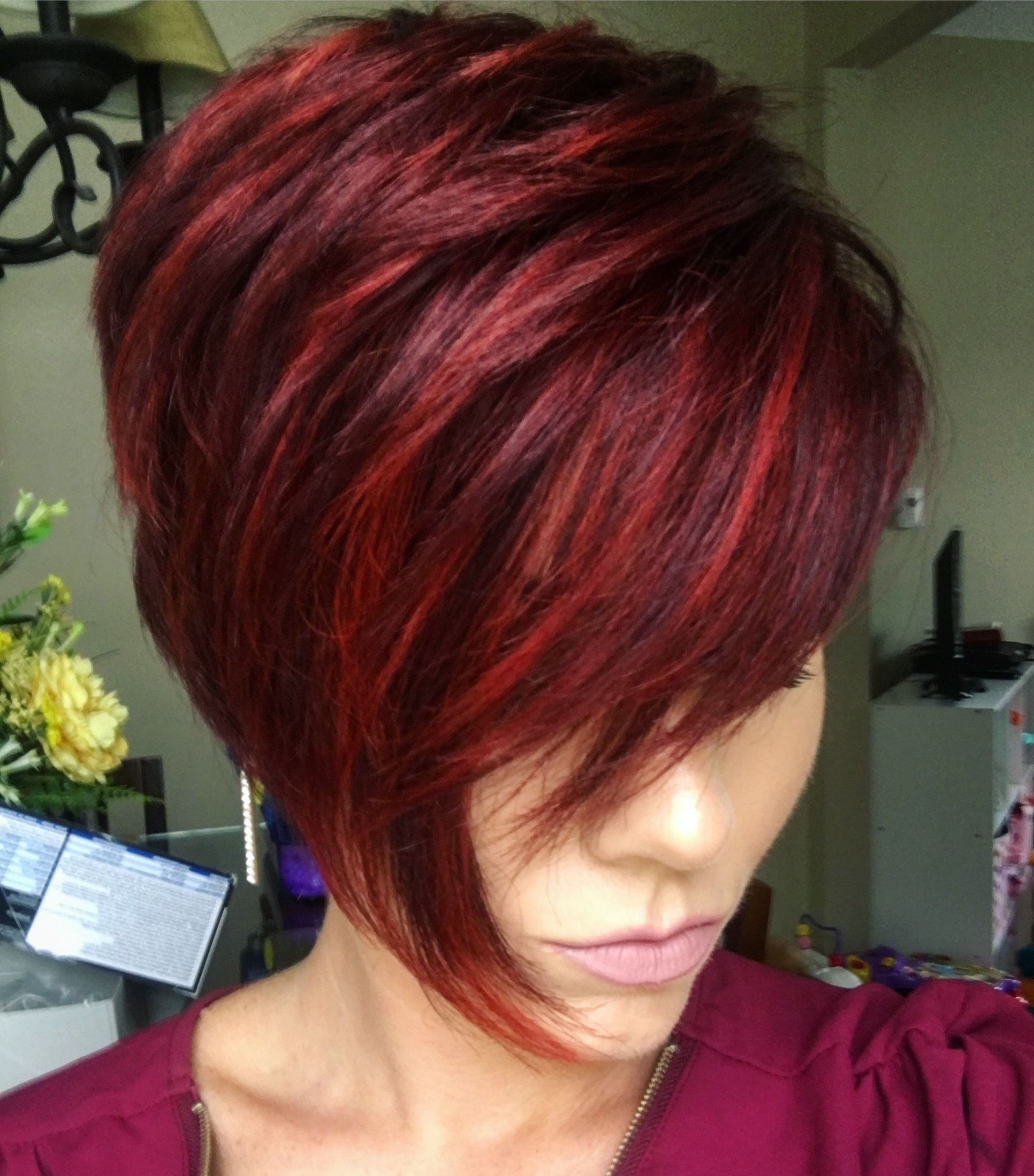 Pin On Hairstyles/inspiration Inside Most Up To Date Pageboy Maroon Red Pixie Haircuts (Gallery 3 of 20)