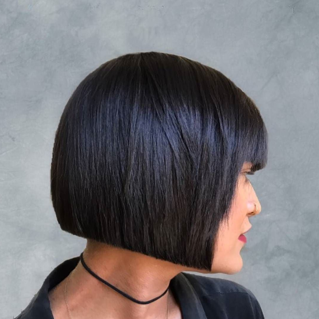 Pin On Hairstyles Pertaining To Well Liked Sharp And Blunt Bob Hairstyles With Bangs (Gallery 12 of 20)