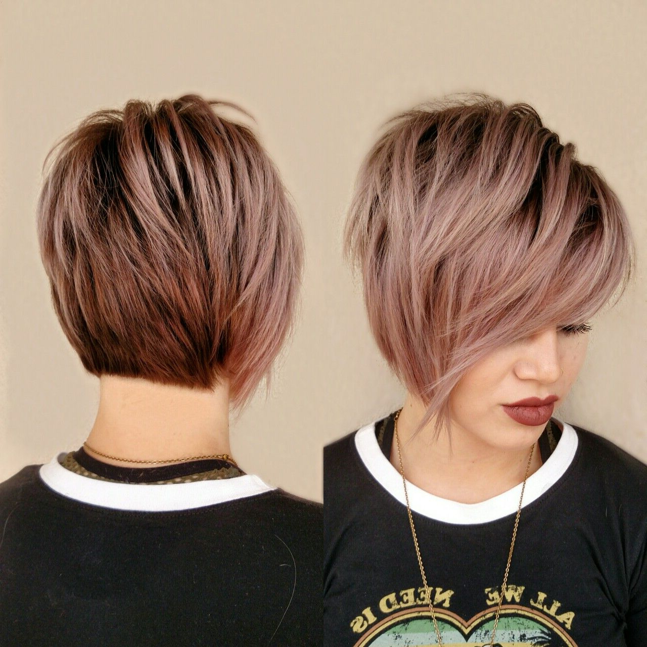 Pin On Short Hairstyle Regarding Most Current Edgy Textured Pixie Haircuts With Rose Gold Color (Gallery 2 of 20)