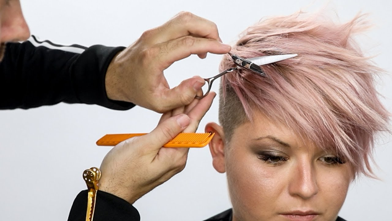 Pixie Haircut Tutorial Plus Bonus Pink Hair Color How To Within 2017 Edgy Textured Pixie Haircuts With Rose Gold Color (View 14 of 20)