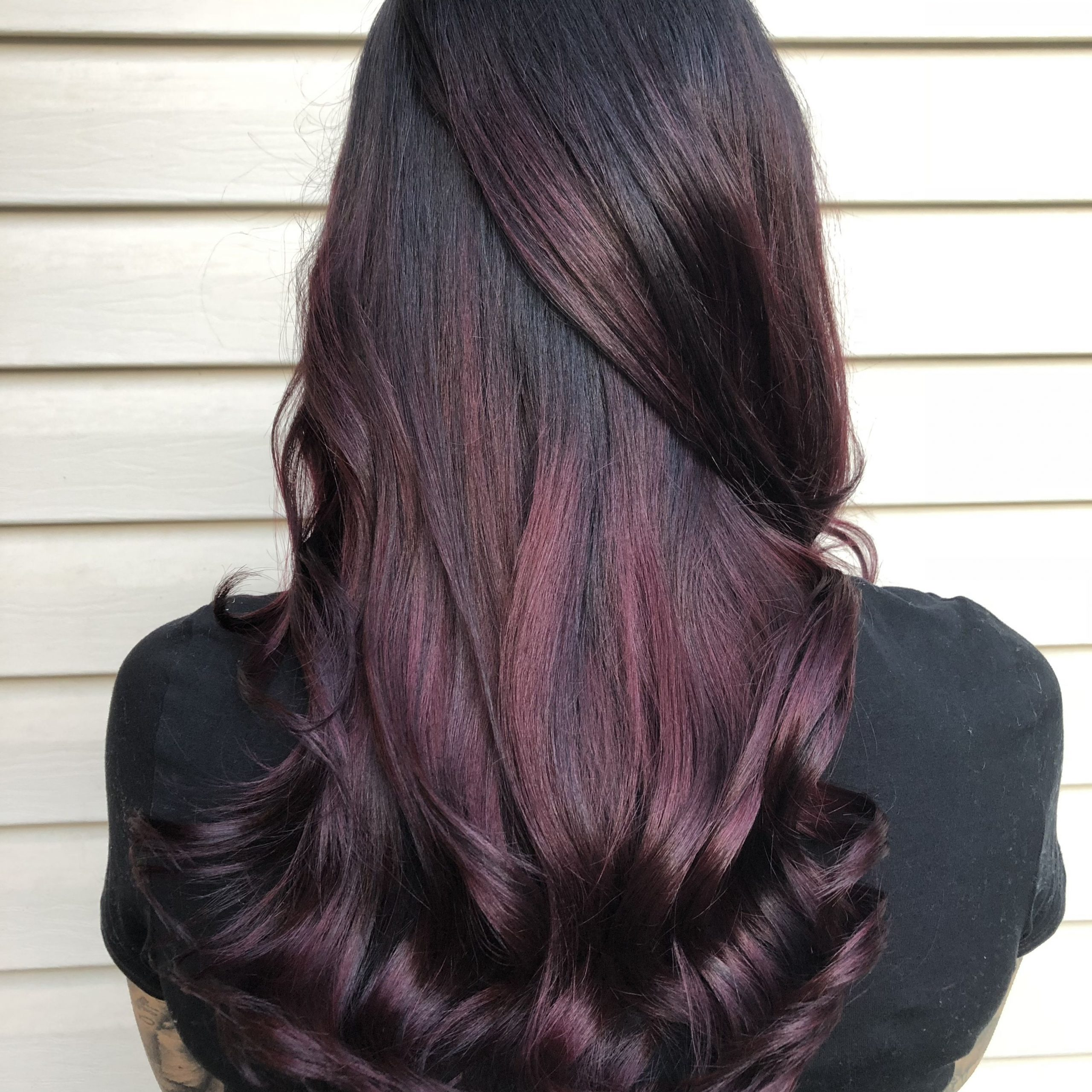 Plum Hair Balayage Ombré Purple Red Mahogany Hair Color Fall Pertaining To 2018 Plum Brown Pixie Haircuts For Naturally Curly Hair (Gallery 10 of 20)