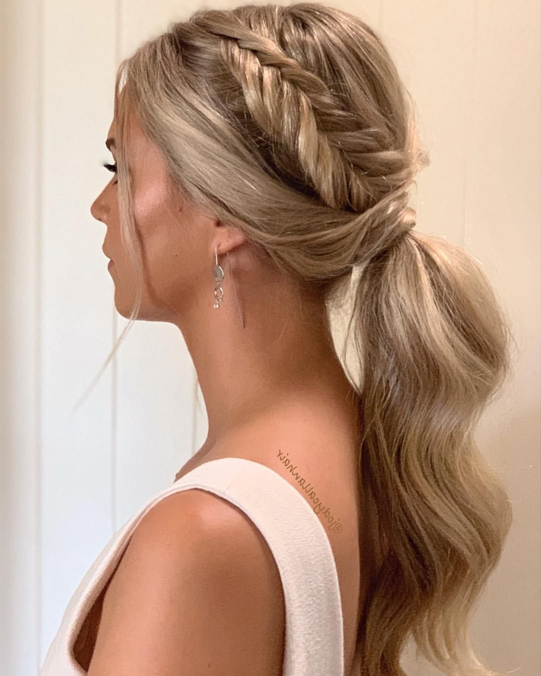 Ponytail + Fishtail Braid ✨ Bridesmaid Hair Inspo Intended For Current Ponytail Fishtail Braid Hairstyles (Gallery 1 of 20)