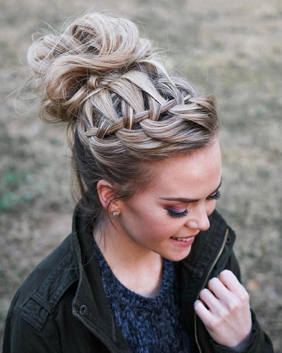 Popular High Waterfall Braid Hairstyles In Waterfall Braid High Bun Throwback One Of My Favorite Pics I (View 3 of 20)