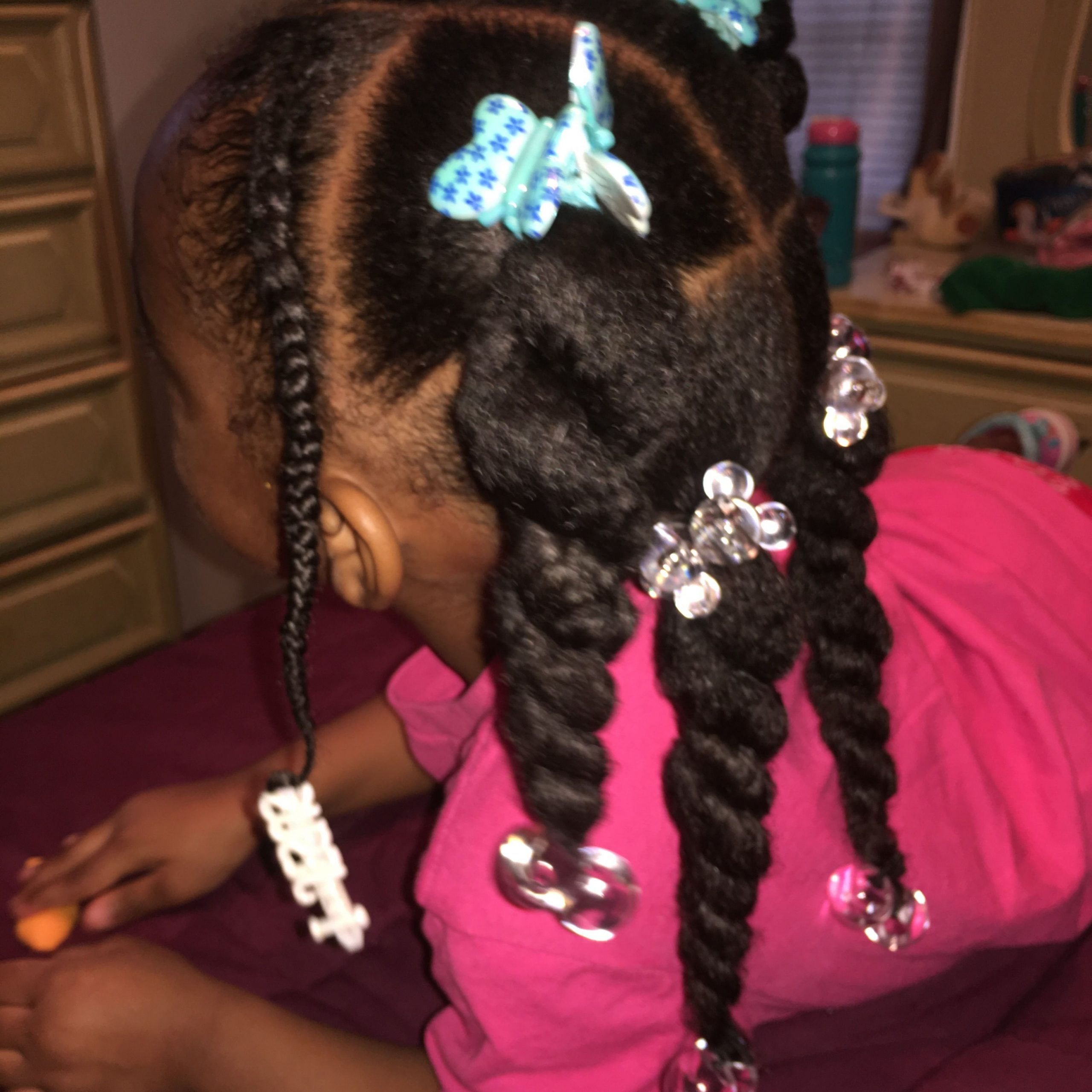 Preferred Baby Pink Braids Hairstyles Within Four Twists With Pink Oil Moisturizer. Toddler Hair (Gallery 9 of 20)