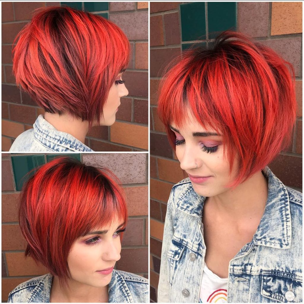 Preferred Bright Red Bob Hairstyles Within Women's Choppy Red Graduated Bob With Fringe Bangs And Black (View 18 of 20)