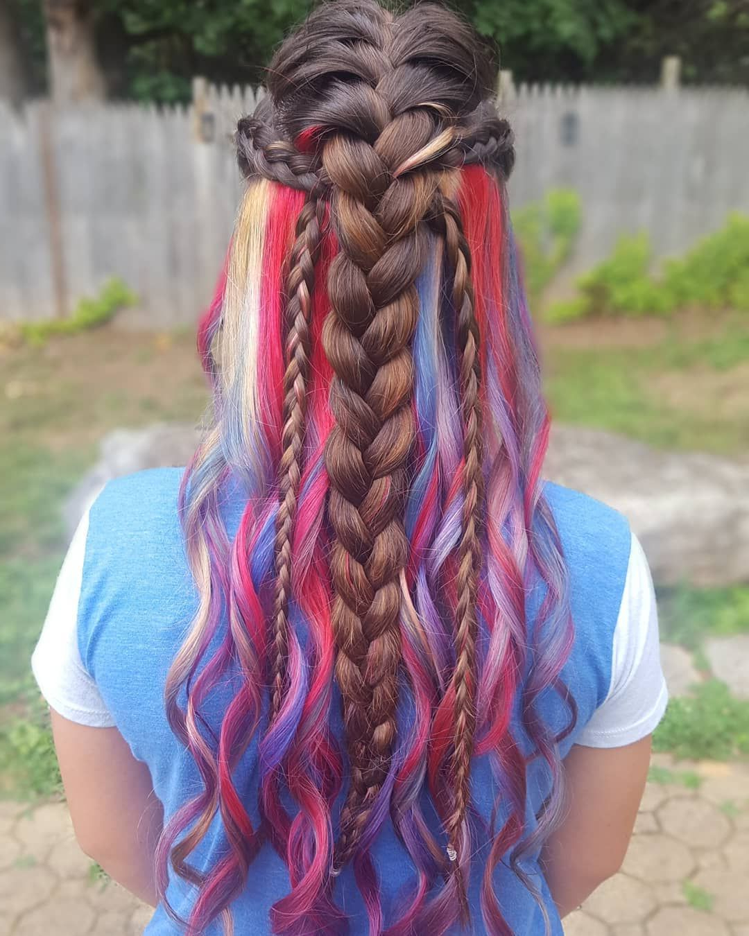 Preferred Peek A Boo Braid Hairstyles Pertaining To Red White And Blue Peekaboo Hair Color With Fun Festival (Gallery 6 of 20)