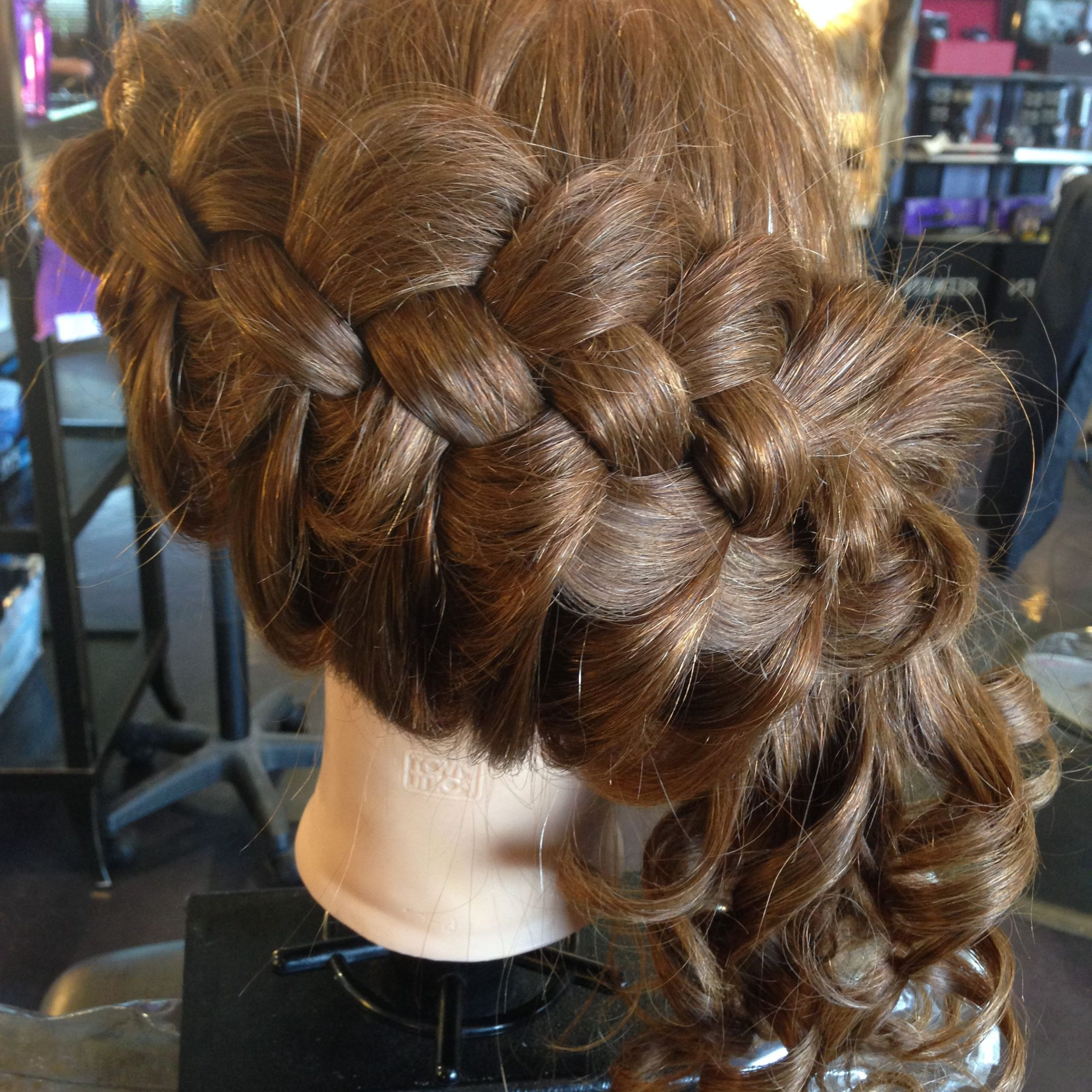 Recent Asymmetrical French Braid Hairstyles Within Asymmetrical Four Strand French Braid Into A Curled Side (View 18 of 20)