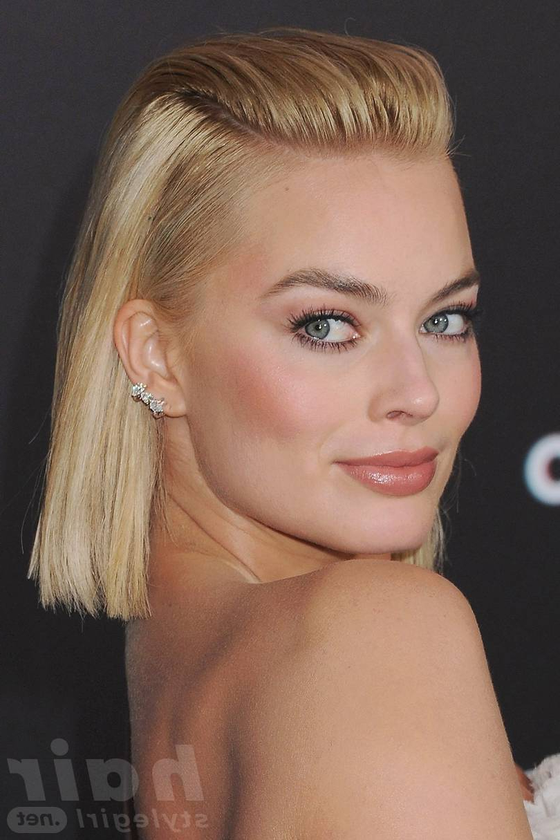 Recent Slicked Bob Hairstyles Within Margot Robbie Hairstyles – Margot Robbie Hair Looks To Adore (View 18 of 20)