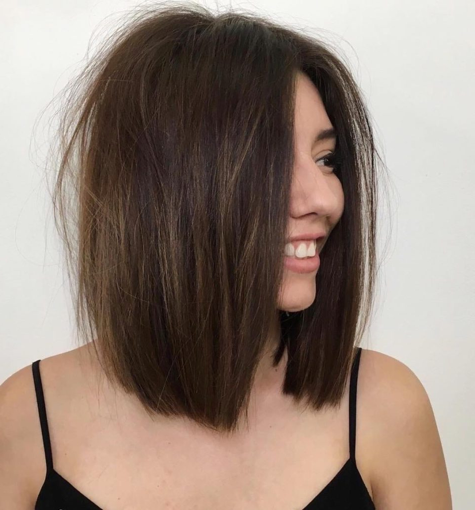 Recent Voluminous Bob Hairstyles Throughout Women's Brunette One Length Lob With Voluminous Messy (View 14 of 20)